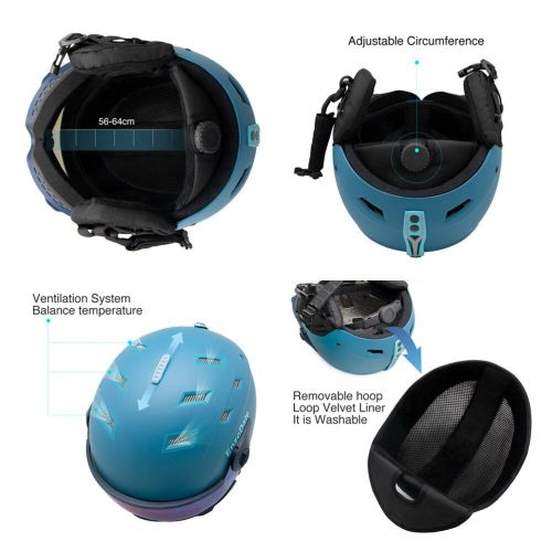 Daisy One 2 in 1 Visor Ski Helmet Detachable Snow Mask Integrated Snowboard Goggle Shield Exchangeable Night Skiing Lens Anti-fog UV400
