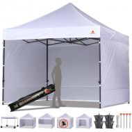 ABCCANOPY 10x10 Ez Pop-up Canopy Tent Gazebo Commercial Market stall with 4 Removable Sidewalls and Roller Bag Bonus 4 Weight Bags and 1 10ft Screen Netting and 1 10ft Half Wall, (