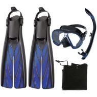 Atomic Aquatics Scuba Diving Mask Split Fins Semi Dry Snorkel Set, Blue, Large