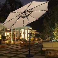 [해상운송]Costway 10ft Patio Solar Umbrella LED Patio Market Steel Tilt w Crank Outdoor (Burgundy)