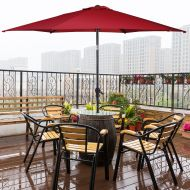 [해상운송]Costway 10FT Patio Umbrella 6 Ribs Market Steel Tilt W Crank Outdoor Garden Burgundy