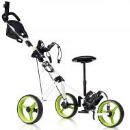 Costway Foldable 3 Wheel Push Pull Golf Club Cart Trolley wSeat Scoreboard Bag Swivel