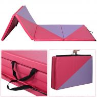 Costway 4x10x2 Gymnastics Mat Thick Folding Panel Gym Home Exercise PinkPurple