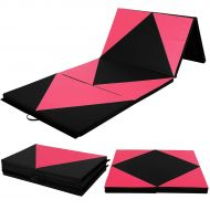 Costway 4x10x2 Gymnastics Mat Folding Panel Thick Gym Fitness Exercise PinkBlack