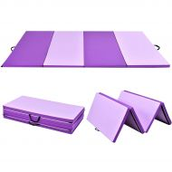 Costway 4x8x2 Gymnastics Mat Thick Folding Panel Gym Fitness Exercise Mat PurplePink