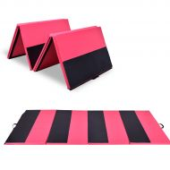 Costway 4x10x2Gymnastics Mat Folding Panel Thick Gym Fitness Exercise PinkBlack