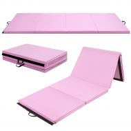 Costway 4x10x2 Gymnastics Mat Thick Folding Panel Aerobics Exercise Gym Fitness Pink