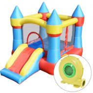Costway Inflatable Mighty Bounce House Jumper Castle Moonwalk Slide w480W Blower