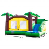Costway Goplus Inflatable Moonwalk Jungle Bounce House Jumper Bouncy Kids Jump Bouncer Castle