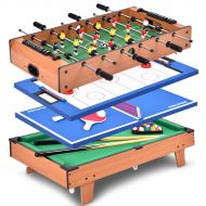 Costway 4 In 1 Multi Game Air Hockey Tennis Football Pool Table Billiard Swivel Indoor