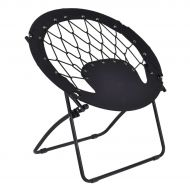 COSTWAY Costway Netted Folding Round Bungee Chair Steel Frame Outdoor Camping Hiking Garden Patio in Black