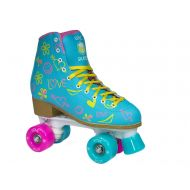 Epic Skates Epic Splash High-Top Indoor  Outdoor Quad Roller Skates w 2 pr of Laces (Pink & Yellow) - Womens
