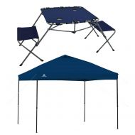 EzyFast Ozark Trail 2-in-1 Table Set with Two Seats and Two Cup Holders Bundle 10 x 10 Straight Leg Instant Tailgate Royal Blue Canopy
