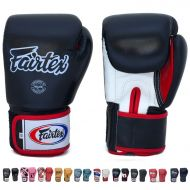 Fairtex Gloves Muay Thai Boxing Sparring BGV1 Size 8, 10, 12, 14, 16 oz in Black, Blue, Red, White, Pink, Classic Brown, Emerald Green, Thai Pride, US, Nation and more (BlackWhite
