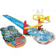 Inflatable-Slide-Park Kids Inflatable Splash Park. This Big Kiddie Blow Up Above Ground Long Water Slide Is Great For Toddlers, Children, Boys, Girls, Aqua Blast Obstacle Course Sprinkler To Have Outdoo