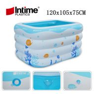 [직배송][추가금없음]Inflatable Pool Baby Swimming Swim Center Safety Inflatable Kiddie Pool Bathtub, Blue and White Ocean Printed 120x105x75cm