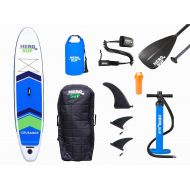 Hero SUP 112 Crusader Inflatable SUP All-Around Stand Up Paddle Board, Rolling Backpack, 3-Piece Paddle, 3 Removable Fins, Dual Action Hand Pump, Includes New 10 Leash & 15L Dry Ba