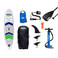 Hero SUP 105 Spark Inflatable SUP All-Around Stand Up Paddle Board, Rolling Backpack, 3-Piece Paddle, 3 Removable Fins, Dual Action Hand Pump, Includes New 10 Leash & 15L Dry Bag