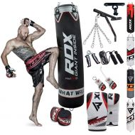 RDX Punching Bag Filled Wall Bracket Boxing Training MMA Heavy Punch Gloves Chain Ceiling Hook Muay Thai Kickboxing 14PC Martial Arts 4FT 5FT Set