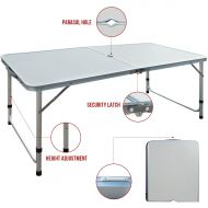 Lifetime Restonc Aluminum Roll Up Folding Portable Camping Table Picnic Dining Set Patio Outdoor