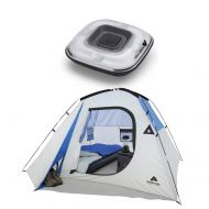 Odoland OZARK TRAIL 4 Person Camping Dome Tent Bundle 100 Lumen Deluxe LED Tent Light - Camping