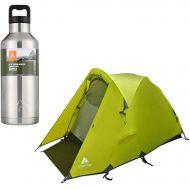 A.T. Products Corp. Ozark Trail Mountain Pass Geo Frame Tent, Sleeps 2 Bundle with Ozark Trail 64 oz. Double Wall Stainless Steel Silver Water Bottle
