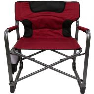 Ozark Trail XXL Folding Padded Director Chair with Side Table, Red