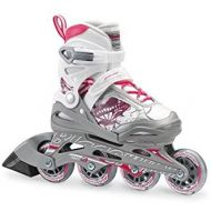 Bladerunner by Rollerblade Phoenix Girls Adjustable Fitness Inline Skate, White and Pink, Junior, Value Performance Inline Skates