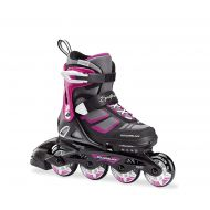 Rollerblade Spitfire XT Girls Adjustable Fitness Inline Skate, Black and Pink, Junior, Youth Performance Inline Skates