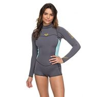 Roxy Womens 2/2Mm Syncro - Long Sleeve Back Zip Flt Springsuit - Women - 4 - Green Deep Grey/Glicer Blue 4: Sports & Outdoors