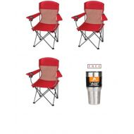 Sportneer Ozark Trail* Set of 3 Basic Mesh Folding Camp Chair with Cup Holder in Red Finish with Free!