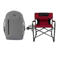 Tommy OZARK TRAIL Traveler Backpack Bundle XXL Folding Padded Director Chair with Side Table in Red
