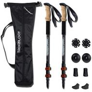 Trekology Trekking Poles Collapsible Adjustable 2pc/Set Aluminum Telescopic Hiking Pole Walking Sticks with Quick Release Lever Lock and Ergonomic Grip