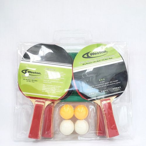 Weston 3 Star 4 Player Racket With Net and Posts 4 Balls Table Tennis Set